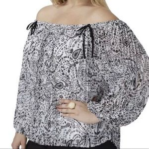 LB Pleated Off-The-Shoulder Blouse Size 18/20 NWT